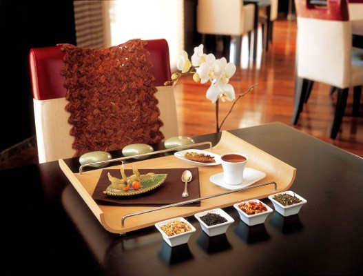 A presentation of food on a restaurant table in the Montgomery golf club, Dubai.