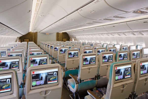 An interior photograph of the new Emirates Economy Cabin