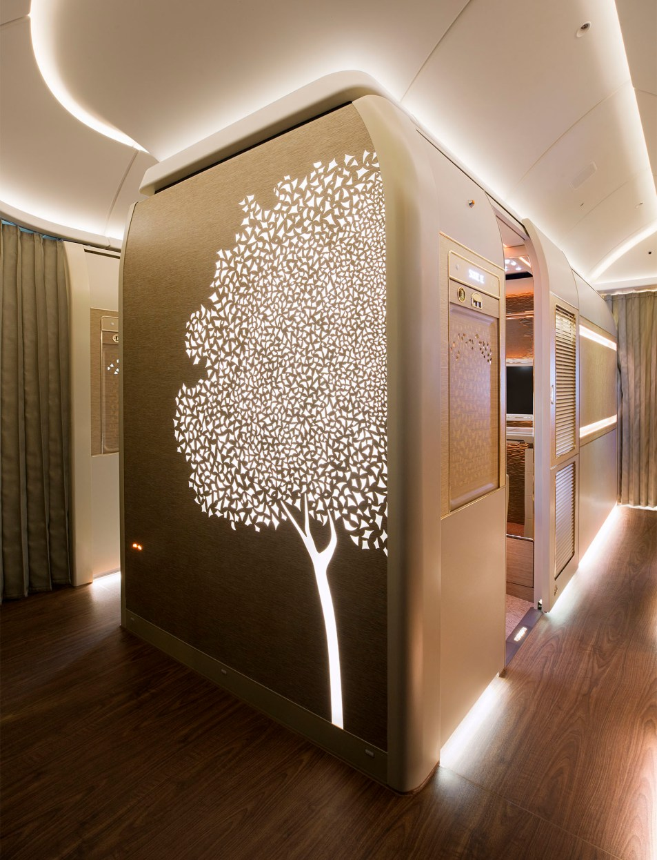 An interior image of the First Class cabins on board an Emirates Boeing 777 by photographer Duncan Chard
