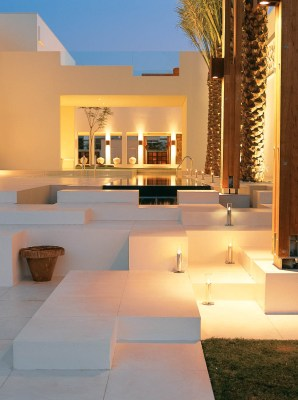 Exterior Photography of the seating and pool area of a villa in Emirates Hill, Dubai