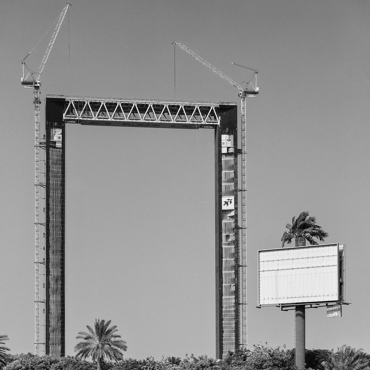 The largest picture frame in the world and a palm tree billboard, Dubai, UAE