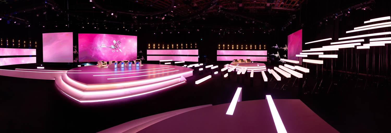 A interior panoramic photograph of a television set, for La Follie, Dubai
