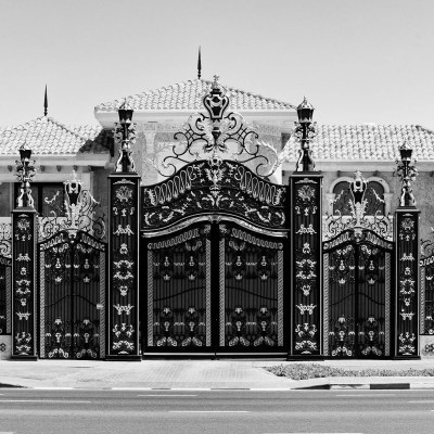 Gates to a private villa in Dubai, UAE