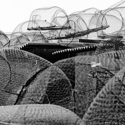 Fishing nets stacked up in Umm Al Qwain, UAE