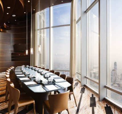 An interior photograph of a meeting room within the Armani Hotel, Burj Khalifa, Dubai