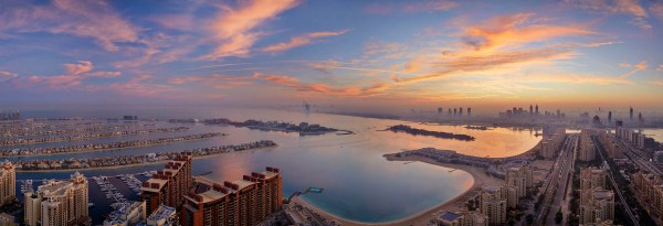 A picture of the Dubai sunrise viewed from the Palm Tower, Dubai
