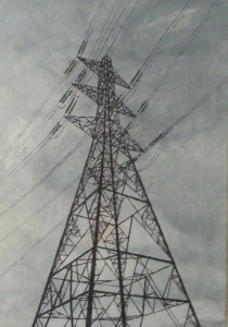 Alison Stirling, artist, paints pylons