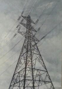 Alison Stirling, artist, paints pylons