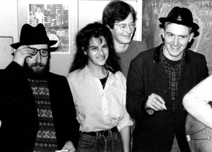 The Medway Poets 1987. From left Sexon Ming, Tracey Emin (guest), Charles Thomson, Billy Childish, (other members absent). Photo: Eugene Doyen