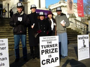 Stuckist demo at Tate Britain, Dec 2008. From left: Steve King, Charles Thomson, Jane Kelly, Shelley Li, Edgeworth Johnstone