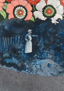 Sarah Sparkes: 101 GHost Stories 20 - 'and this is where I saw it' Gouache on cotton rag paper, A6 size, 2021