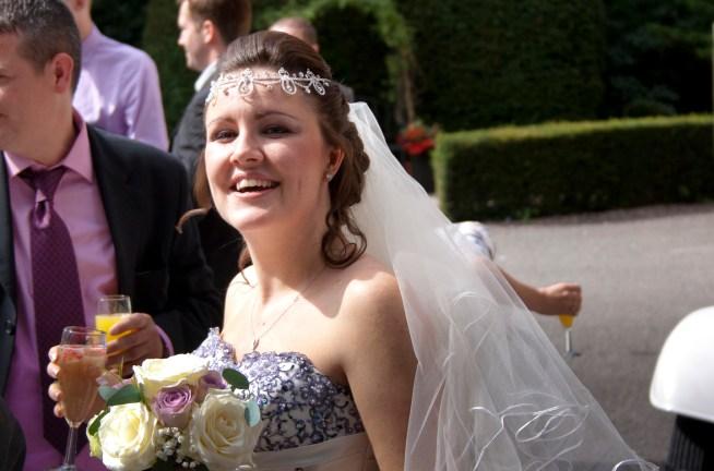 The bride looking happy