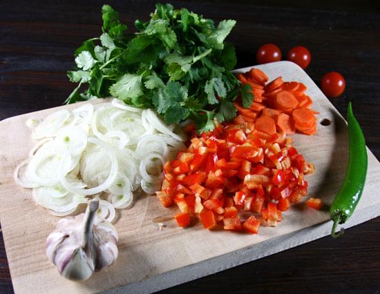 нарезка овощей для нутового супа