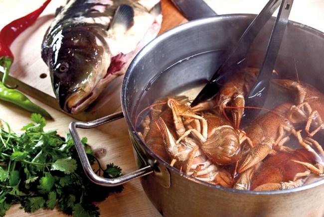 предварительная обработка раков для сборной рыбной солянки