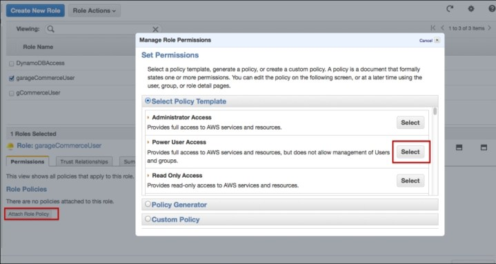 Creating the Identity and Access Management (IAM) role