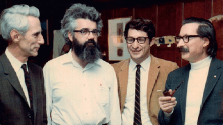 the founding fathers of AI. From left to right they are Claude Shannon, John McCarthy, Ed Fredkin, and Joseph Weizenbaum.