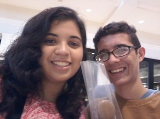 During the summer, and even now, I only really hang out with Nathalie; here's us eating macaroons for the first time.
