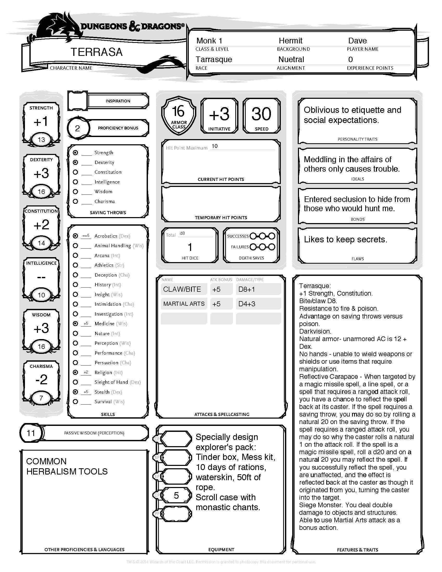 image regarding Initiative Tracker 5e Printable referred to as Monster Sheets 5e