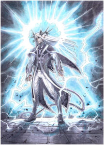 Mage being hit by lightning to show how Absorb Elements spell works