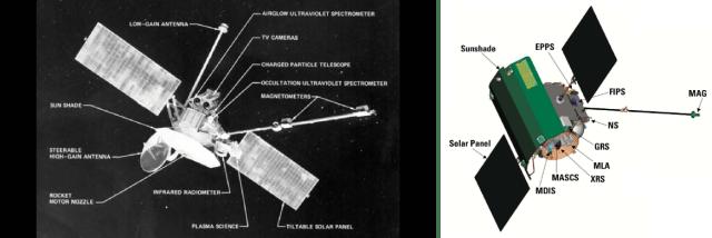 Mariner 10 (kiri) dan Messenger (Sumber: Wikipedia)