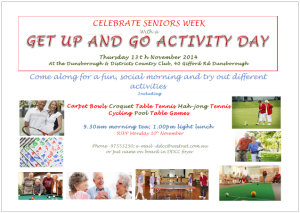 Senior's activity day notice