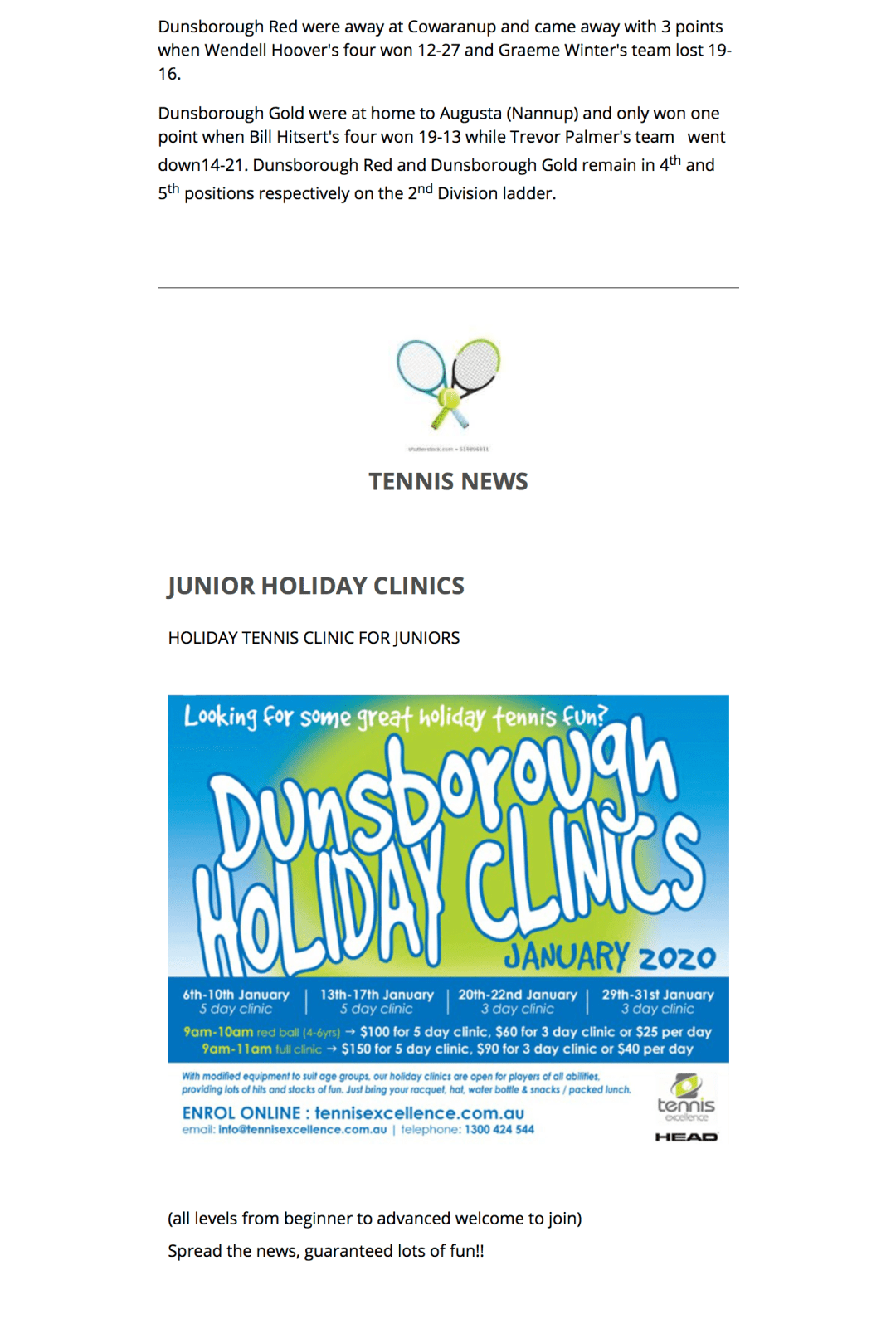 Dunsborough Country Club Sports Results