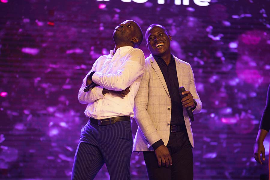 Dunsin Oyekan and a member of his team worshipping at Elevation Church, House of David, Code Red - The Worship Experience