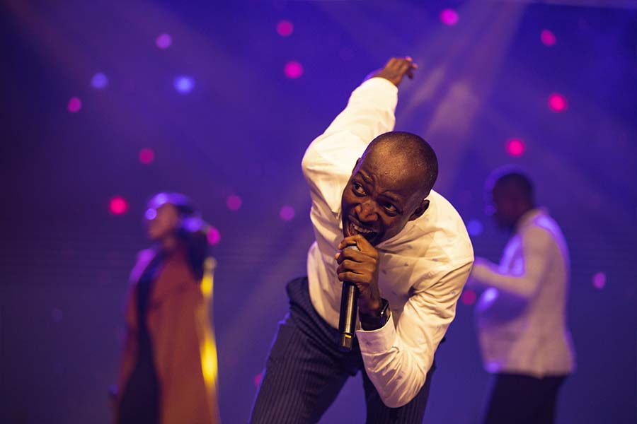 Dunsin Oyekan in an intense moment of worship