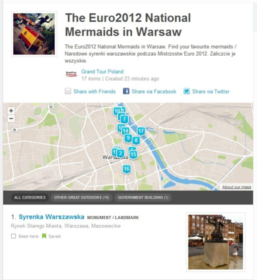 Warszawa Lista Syrenki na Foursquare - Euro2012 National Mermaids in Warsaw