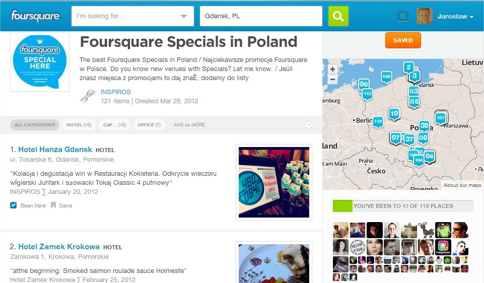 Promocje (Specials) za check-in na Foursquare w Polsce
