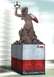 Wizualizacja projektu polskiej syrenki warszawskiej na Euro 2012