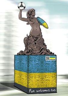 Wizualizacja projektu ukraińskiej syrenki warszawskiej na Euro 2012