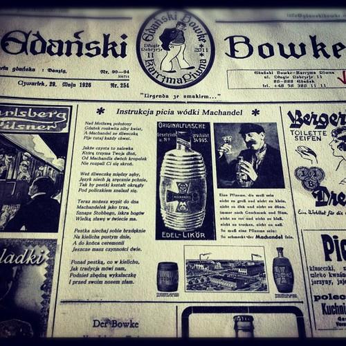 Gdański Bowke – nowa restauracja z tradycyjną polską i gdańską kuchnią na Długim Pobrzeżu nad Motławą. Spróbujcie ich piwo Gdański Bowke i tradycyjną gdańską wódkę Machandel podawaną ze śliwką