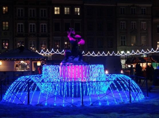 Warszawa Boże Narodzenie 2012  iluminacja Warszawy Syrenka na Rynku Starego Miasta