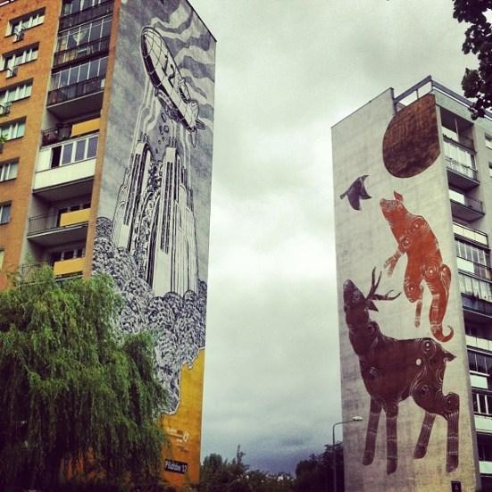 Murale M-city - Mariusz Waras, Monumental Art 2009 i Joanna Skiba, Monumental Art 2011