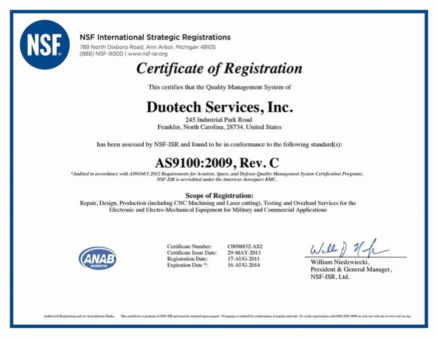 Duotech Certifications AS9100c
