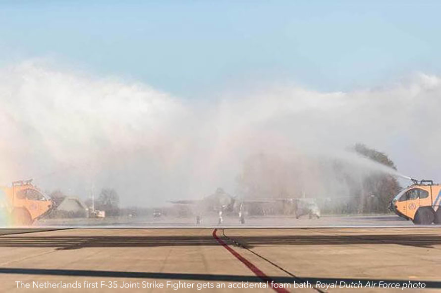 F-35 water cannon salute dutch air force