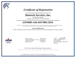 as9100d iso 9001:2015 duotech services