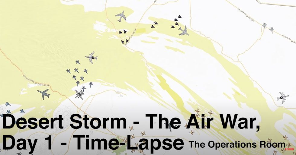 Time Lapse of Desert Storm's Air War on Day 1