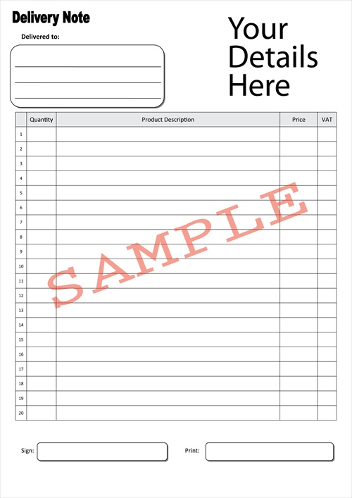 Dispatch Note Template. 9 Delivery Note Templates Free Sample