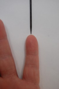 Measure center of contracted finger that results in bent finger and hand that won't open