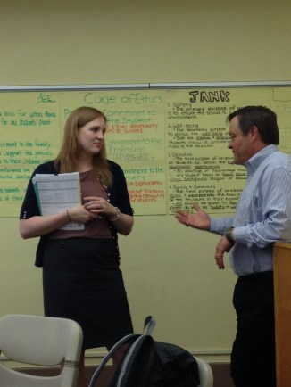 Lauren and Professor Nist discuss the group interaction with the class.