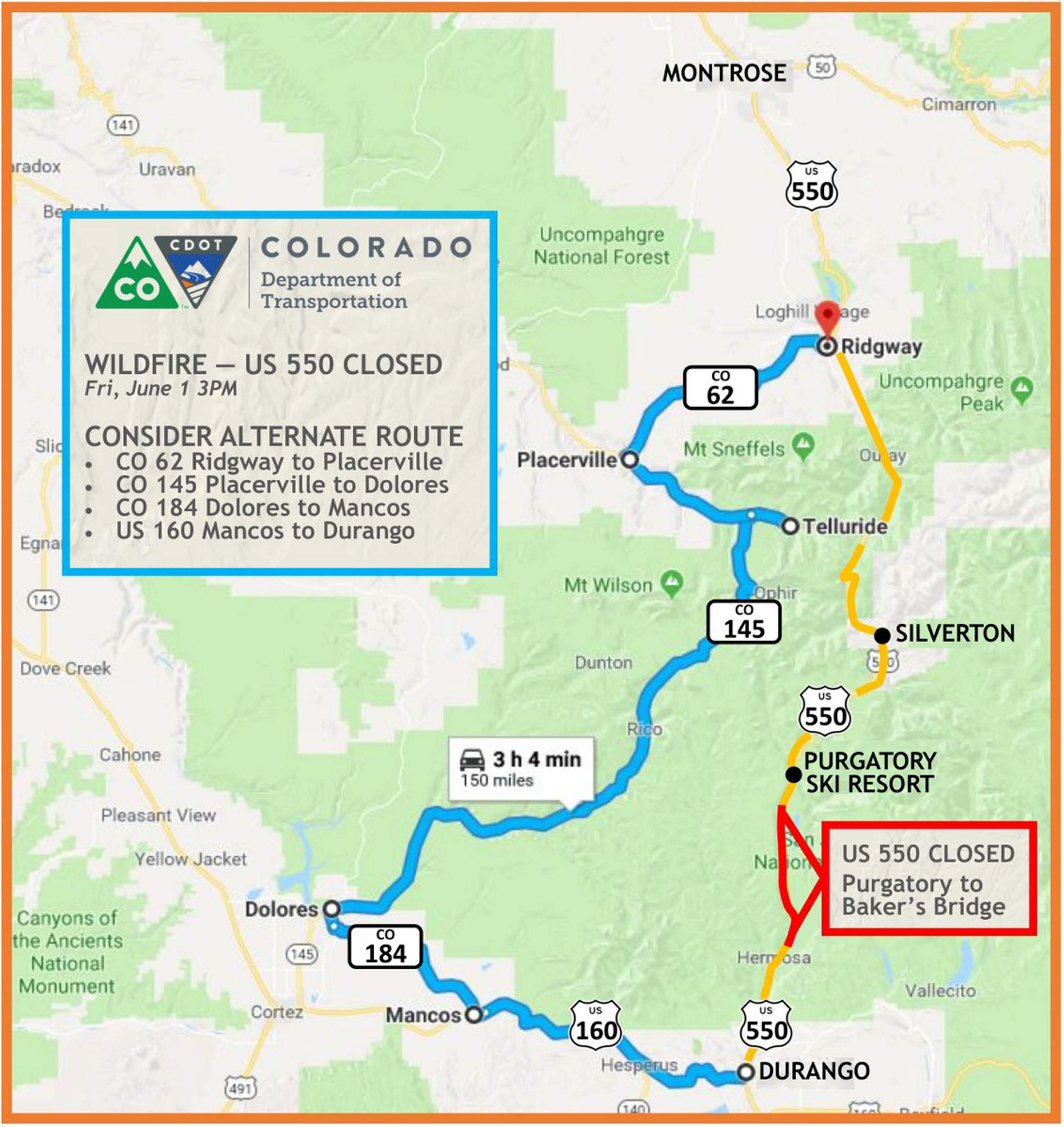 U S Highway 550 Is Closed North Of Durango Here Are