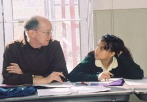 Father Jud meet withs a student leader