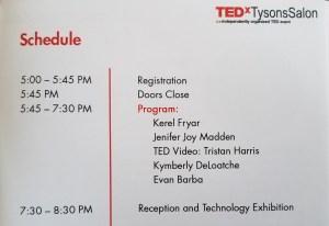 Agenda of Casting a Wider (dot) Net TEDxTysons event