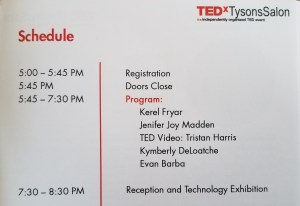 Agenda of Casting a Wider (dot) Net TEDxTysons event