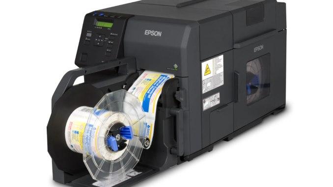 Epson TM-C7500 GHS label printer with rewinder