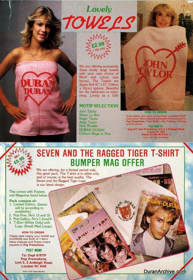 Duran Duran towels, t-shirts & magazines