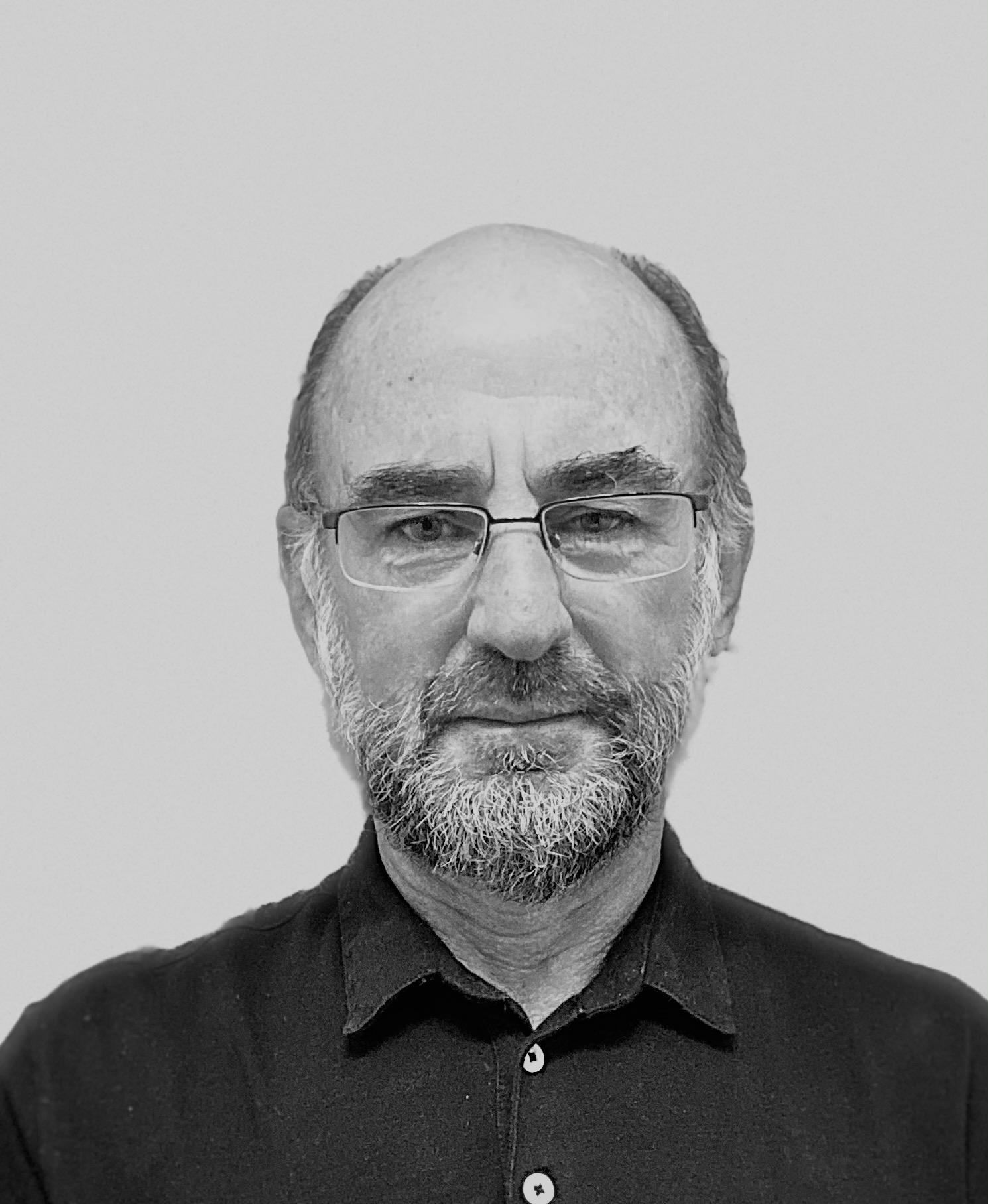 Black and white image of Bruce Brandfon