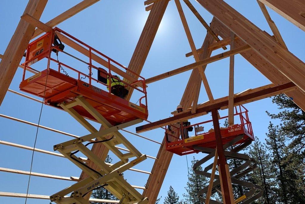construction framing New Dining Hall